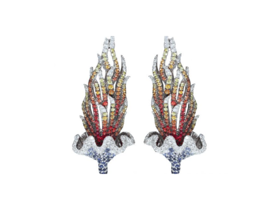 Goralska Water-flame earrings mounted on white gold paved with 300 diamonds, 220 blue sapphires, 360 orange sapphires and 100 yellow sapphires
