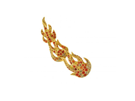 Goralska Flame earring sapphires mounted on yellow gold set with 50 yellow sapphires, 50 oranges sapphires and 27 brown diamonds
