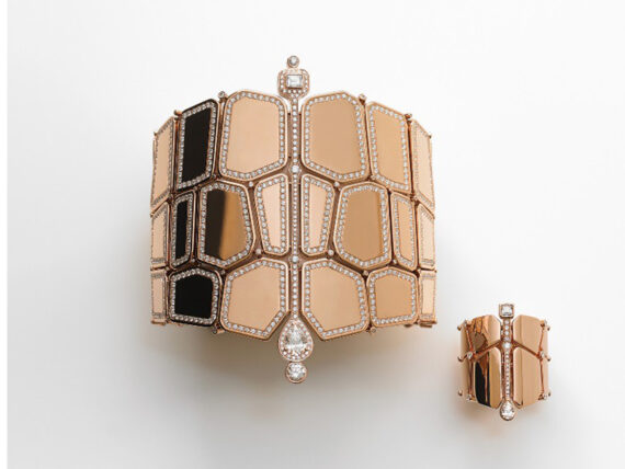 Hermès Ring and Cuff Niloticus set on red gold with diamonds