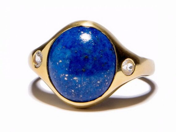 Pamela Love Essential ring mounted on yellow gold plate over sterling silver with lapis and topaz