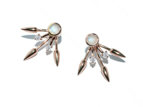 Pamela Love Beam earrings mounted on rose gold plate over sterling with moonstone and white topaz