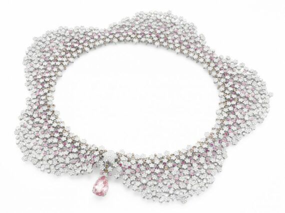 Pasquale Bruni Milefiori necklace mounted on white gold with morganite, pink sapphires and white and champagne diamonds