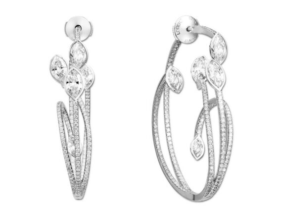 Lorenz Bäumer Jardin Suspendu Hoop earrings mounted on white gold with white diamonds