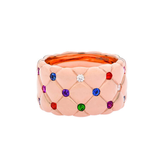 Fabergé Treillage Multi-coloured Rose Gold Matt Wide Ring features round white diamonds, blue and pink sapphires, rubies, tsavorites, fire opals and amethysts, mounted on matt rose gold.