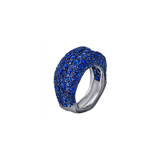 Fabergé Emotion Blue Sapphire Ring features round blue sapphires, mounted on white gold.