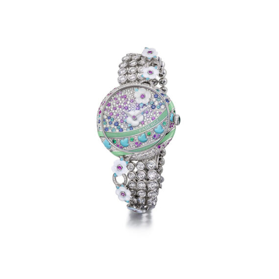 Fabergé Summer in Provence Multi-Coloured timepiece mounted on white gold dial set with diamonds, Paraiba tourmalines, emeralds, blue sapphires, pink sapphires, freshwater mother-of-pearl flowers, turquoise leaves and green grand feu enamel stripes.