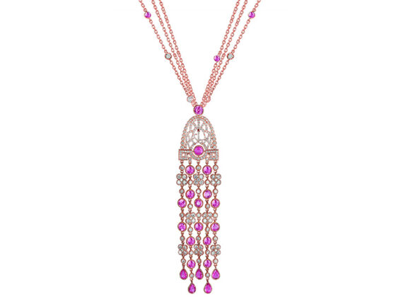 Jacob & Co Pendant mounted on rose gold set with 21 pink sapphires and 234 brilliant cut diamonds