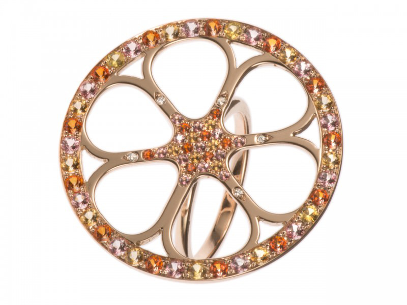 Vanessa Martinelli Orange Pop collection - Red gold ring with warm colored topazes and sapphires