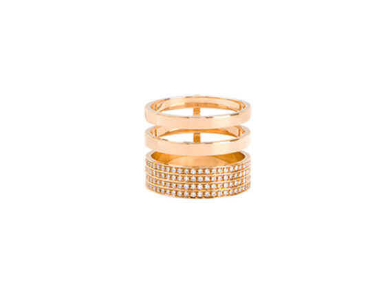 Repossi Three rows module berber ring mounted on rose gold with diamonds