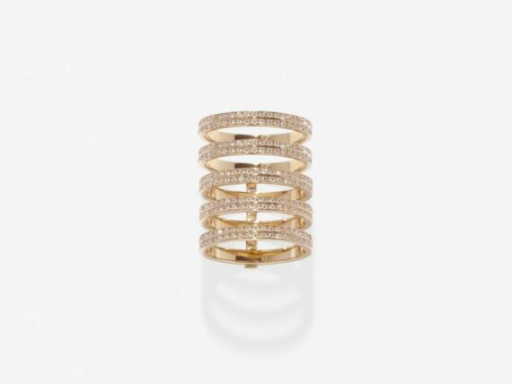Repossi Berber five rows module ring mounted on rose gold with diamonds