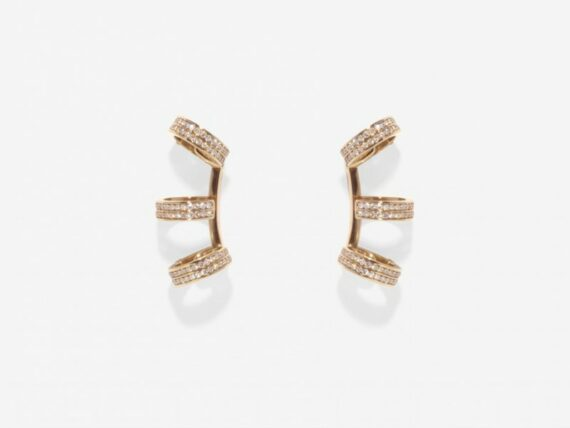 Repossi - 4 rings berber earring mounted on rose gold with diamonds
