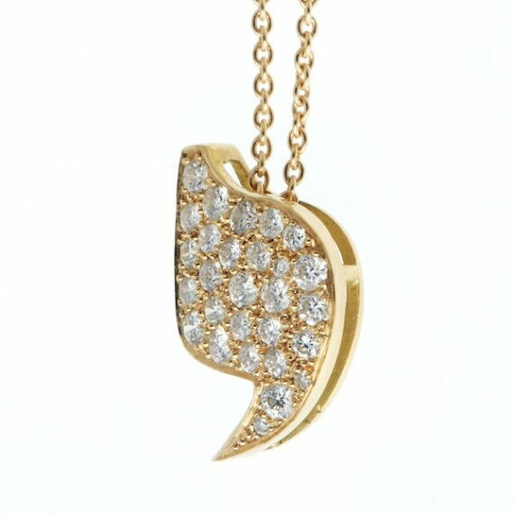 Necklace pendant yellow gold diamonds