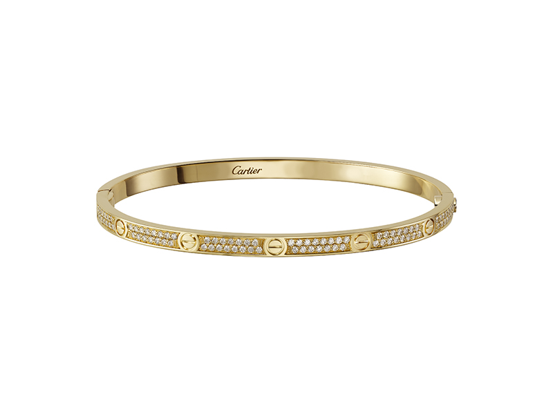 Cartier Love bracelet mounted on yellow gold with diamonds