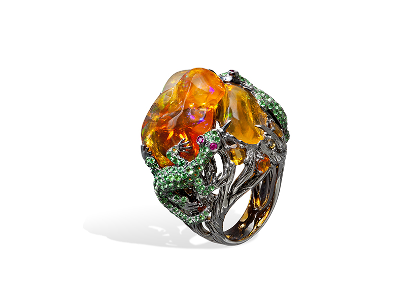 Lydia Courteille Les Jardins de Xochimilco ring mounted on 18k gold with rubies, tsavorites and mexican opals