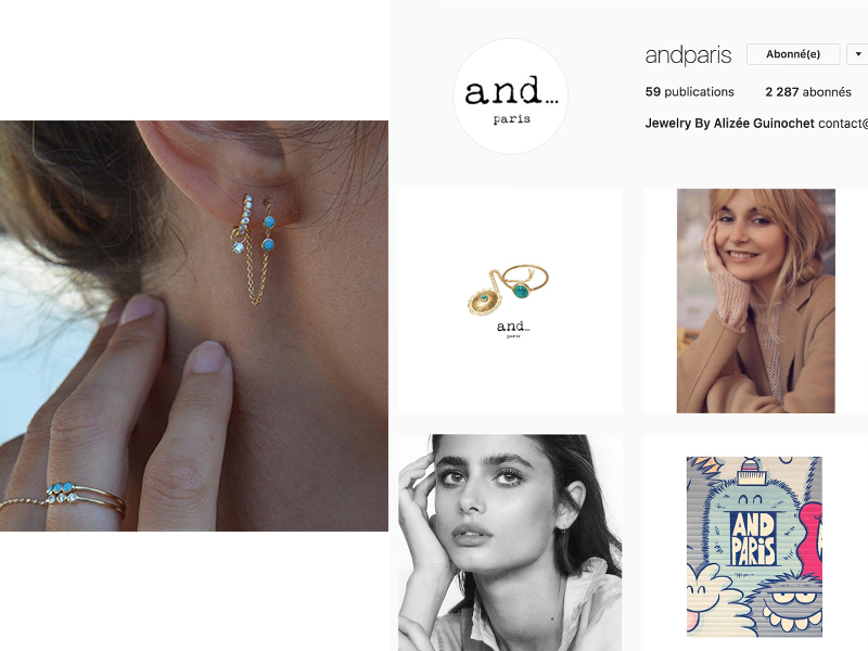 And Paris by Alizée Guinochet is a Parisian designer who created the cutest feminine jewelry matching her very cute baby face : https://www.instagram.com/andparis/
