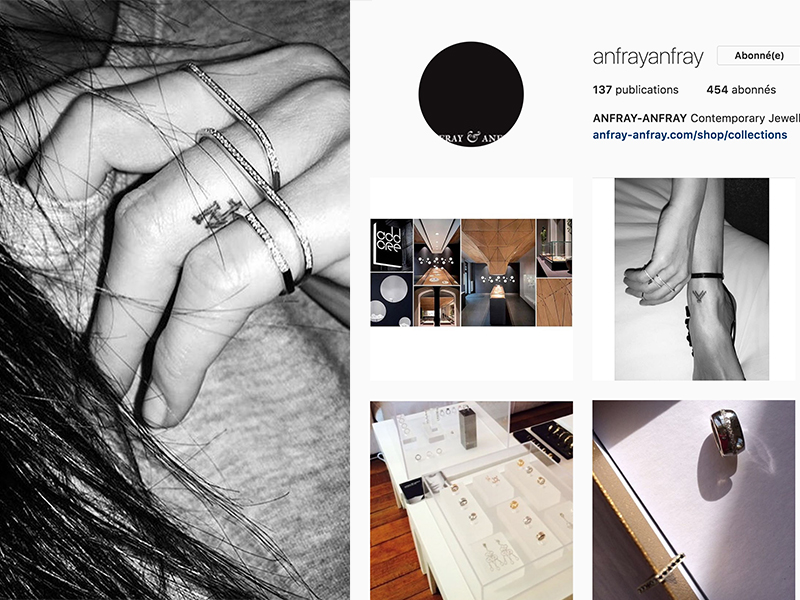 Anfray-Anfray is a French contemporary brand launched in 2013 by Alena Anfray. Her signature concept is a collection of rings made of two overlapping parts : https://www.instagram.com/anfrayanfray/
