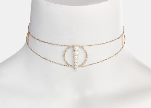 Anissa Kermiche - Corne de gazelle dore blanc choker - 14k yellow gold, white pearls and white diamonds, ~ GBP£ 2'218