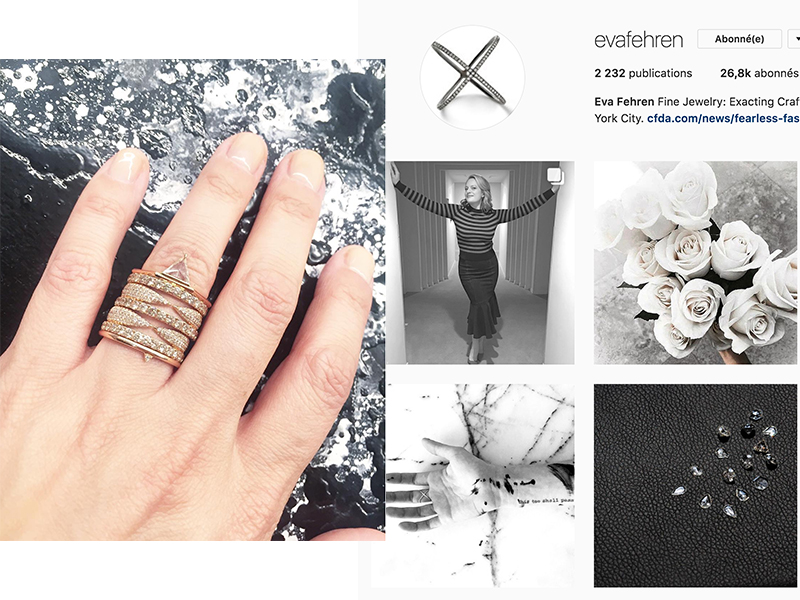 Eva Zuckerman is a Manhattan born and raised designer who launched her business partner Ann Gorga the jewelry brand Eva Fehren based on modern and minimalistic designs : https://www.instagram.com/evafehren/