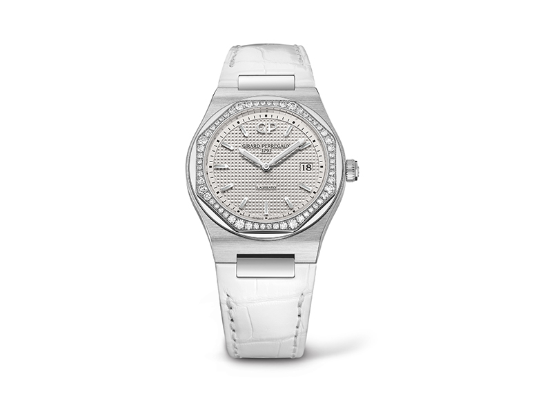 Girard-Perregaux Steel Laureato diamonds paved, white alligator strap with date indication, 34mm