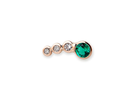 Jacquie Aiche Round diamonds and round emerald earcuff