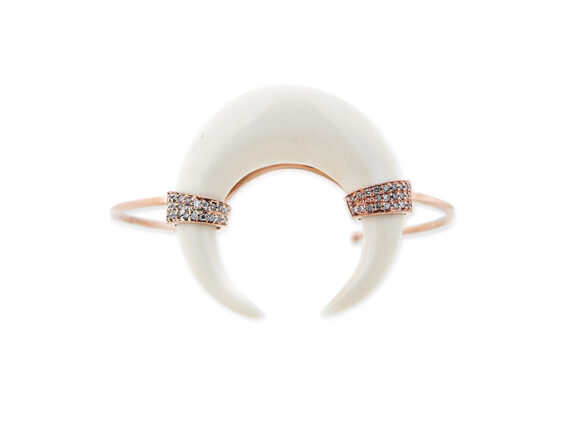 Jacquie Aiche Pave diamonds double bone horn cuff