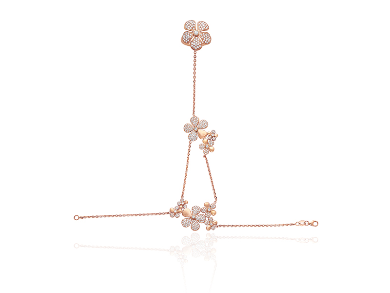 Colette Jewelry BellaDonna hand installation mounted on pink gold with white diamonds