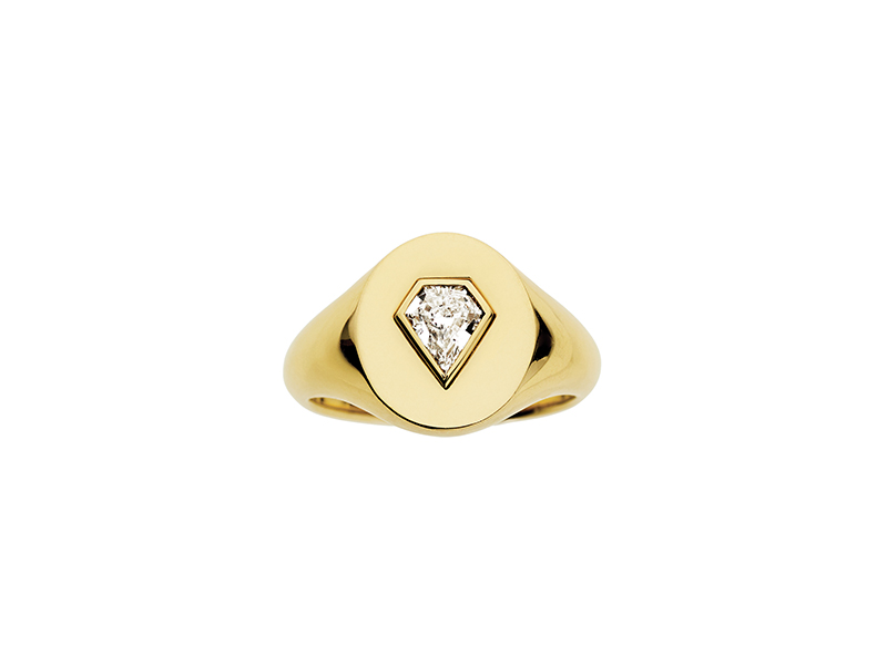 Jemma Wynne prive diamond shield signet ring mounted on yellow gold