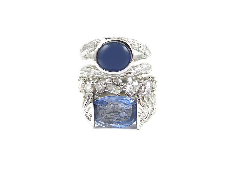 Katey Brunini Small double Twig ring in white gold with Cabochon shaped sapphire, Skipping Stones ring in platinum with pink diamondsand Large Vertebrae ring in white gold with oval shaped Sapphire