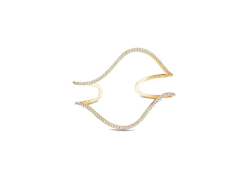 Paige Novick Flou Open Wide Wavy Diamond Gold Cuff Bracelet