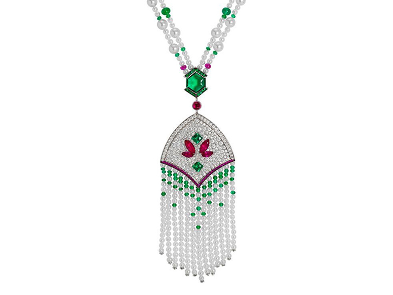 John Rubel Mistinguett - White gold necklace, made with diamonds, rubies, pearls & emeralds.