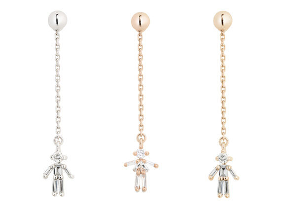 Little Ones Paris Drop earrings mounted on white, rose and yellow gold