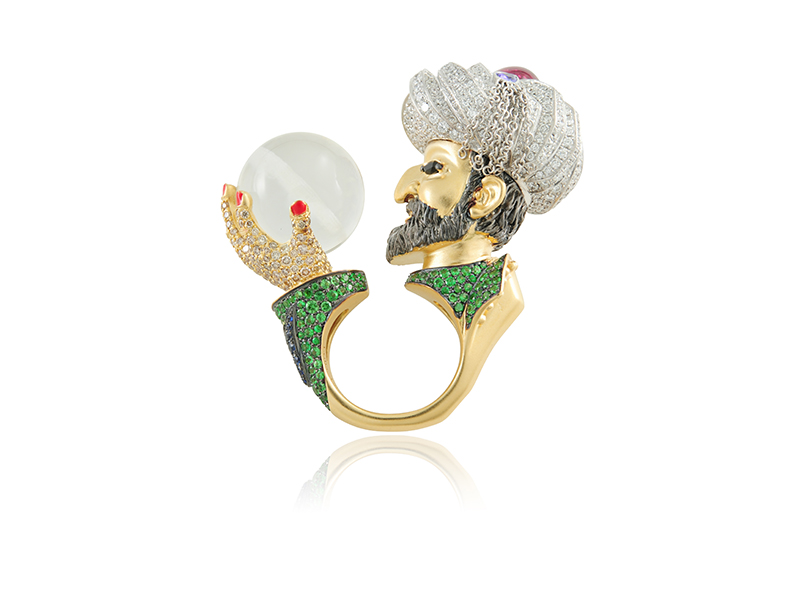 Lydia Courteille Soliman le Magnifique ring mounted on 18k gold with white and brown diamonds, sapphires, tsavorites, onyx, tanzanite, garnet, rock crystal and enamel