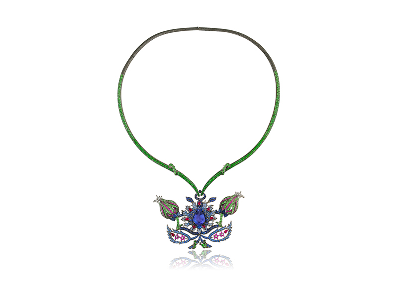 Lydia Courteille Topkapi necklace mounted on 18k black rhodium with tanzanite, sapphires, rubies, tsavorites and diamonds