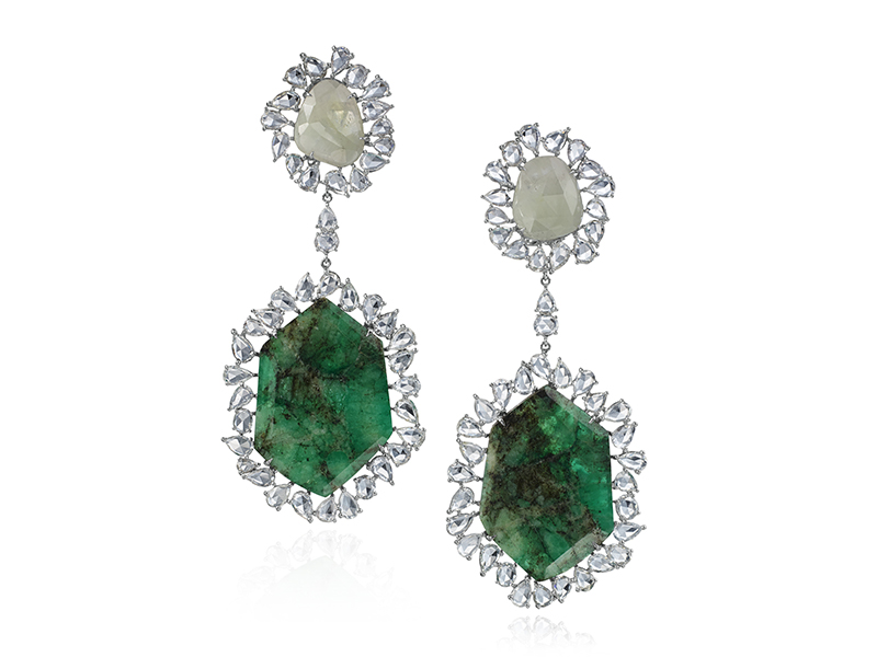 Nina Runsdorf Emerald and Sapphire Slice Earrings