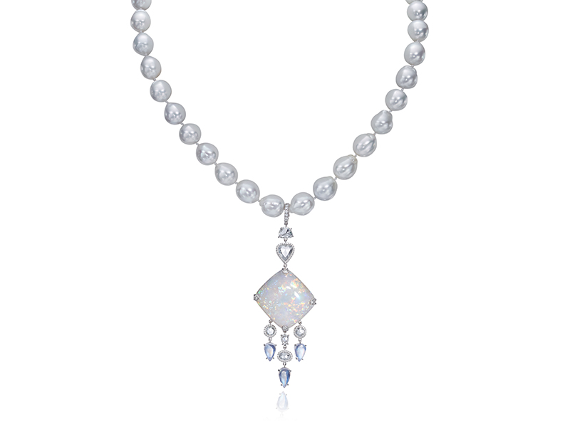 Nina Runsdorf White pearl necklace with white opals by NSR Nina Runsdorf