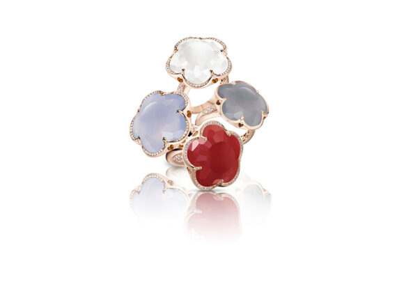 Pasquale Bruni Bon Ton rings mounted on pink or white gold with chalcedony and white diamonds