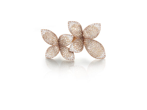 Pasquale Bruni Giardini Segreti ring mounted on pink gold with white and champagne diamonds