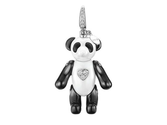 Qeelin Classic Bo Bo pendant mounted on white gold with ceramic and diamonds