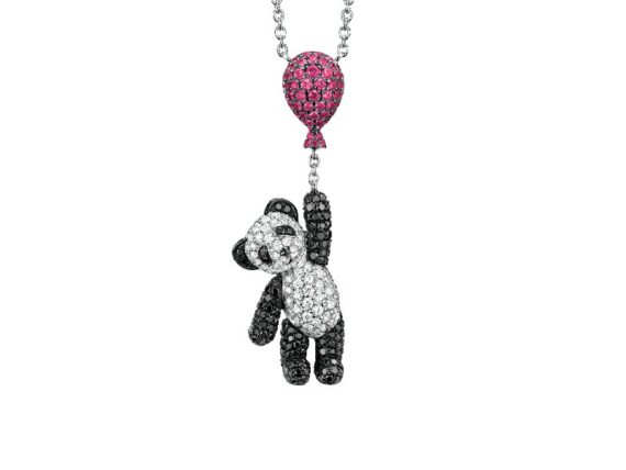 Qeelin Flying Bo Bo necklace in 18K white gold with pave diamonds and black diamonds and ballon paved with rubies