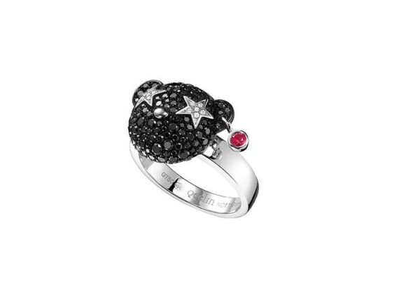 Qeelin Small naughty Bo Bo ring mounted on white gold with black and white diamonds
