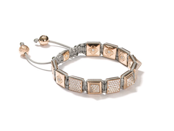 Shamballa Pyramid Bracelet mounted on rose gold with white diamonds