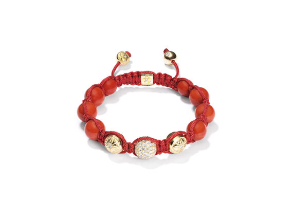 Shamballa Bracelet mounted on yellow gold with white diamonds and corals