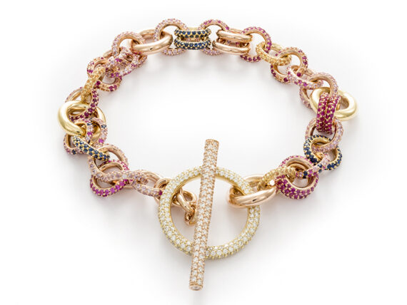 Spinelli Kilcollin Bracelet mounted on yellow and rose gold set with diamonds