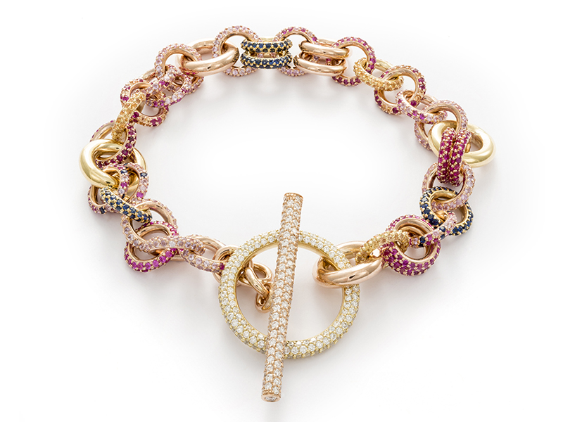 Spinelli Kilcollin Atlantic Royal linked chain bracelet in mixed 18k gold with pavé-set sapphire and ruby chain links, and a white diamond toggle