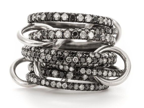 Spinelli Kilcollin Ring set with white and black diamonds mounted on black gold