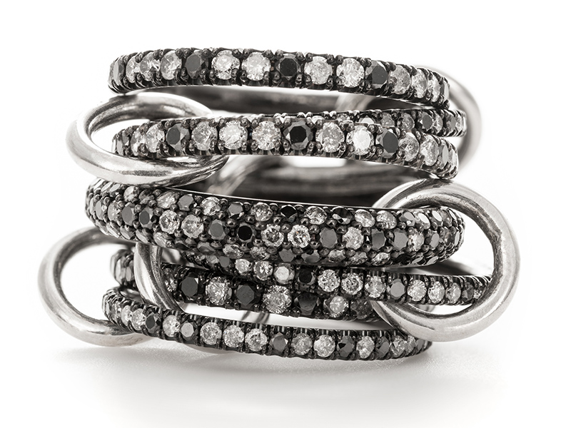Spinelli Kilcollin Vela Pavé linked rings of black rhodium plated white gold that are set with full cut pavé cognac, champagne, and white diamonds