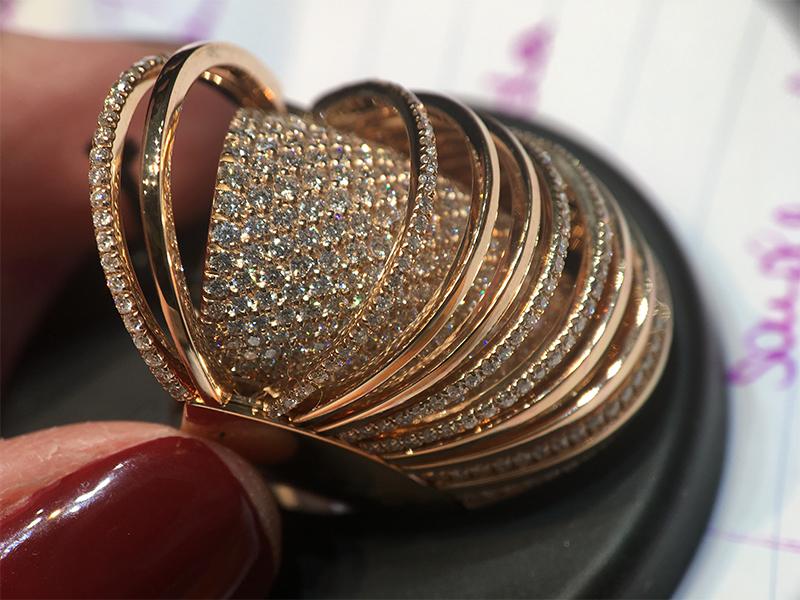 Mattia Cielo Pavone pink gold full pavé ring