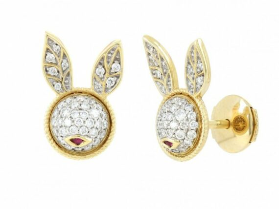Yvonne Léon Bunny stud mounted on yellow gold with diamonds and ruby