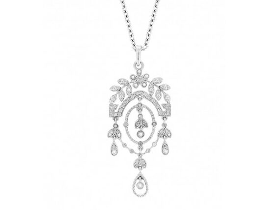 Yvonne Léon Mini Feuilletis necklace mounted on white gold with diamonds