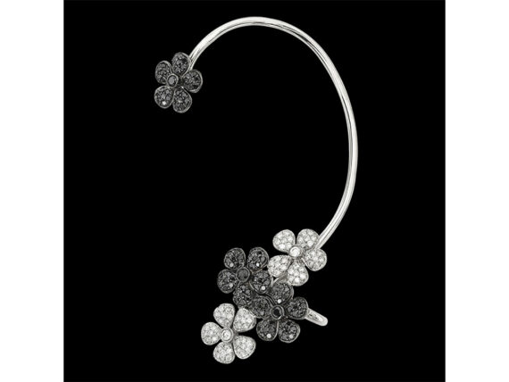 Colette Jewelry Flower earcuff mounted on white gold with black and white diamonds
